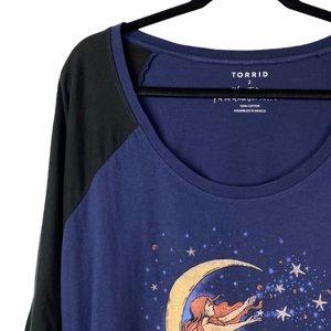 torrid Tops - Torrid Moon Mermaid Celestial Raglan Shirt Tee